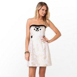 White Christine Gold Metallic Strapless Dress